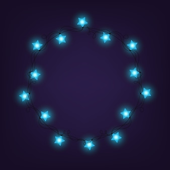Weihnachten und neujahr licht girlanden wie rahmen auf blauem hintergrund, vektor. sternenlichter