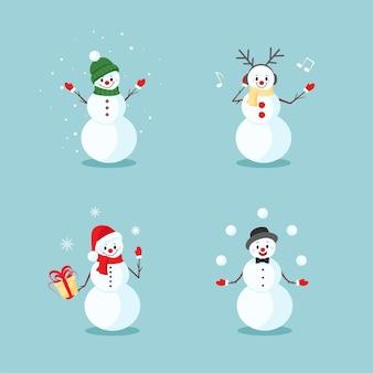 Weihnachten und neujahr mit süßen schneemännern in verschiedenen posen und emotionen, in einer weihnachtsmannmütze, in einem schal, in einem hut, mit kopfhörern musik hören, mit schneebällen jonglieren. vektor-illustration