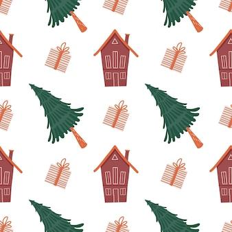 Weihnachten und neujahr muster nahtloses muster mit handgezeichneten weihnachtsbaumgeschenken und haus