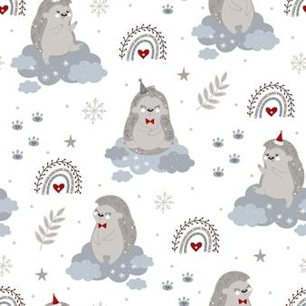Weihnachten und neujahr nahtloses muster mit weihnachtsigel und winterelementen