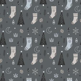 Weihnachten und neujahr nahtloses muster mit weihnachtswinterelementen