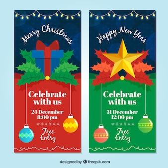 Weihnachten und neujahr party-einladungen