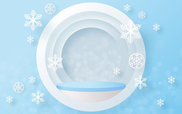 Weihnachten und neujahr podium hintergrund vektor design 3d-produkte oder kosmetische produktanzeige anzeigen. bühnenpodest oder plattform. winterweihnachten roter hintergrund.