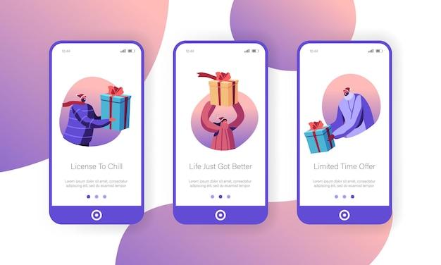 Weihnachten und neujahr präsentiert mobile app page onboard screen set.