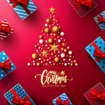 Weihnachten und neujahr rotes plakat mit geschenkbox- und weihnachtsdekorationselementen