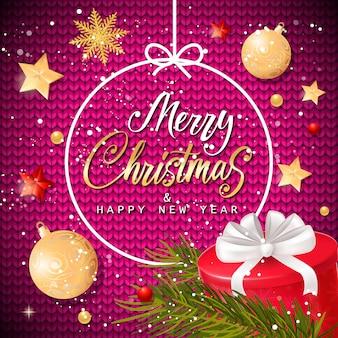Weihnachten und Neujahr Schriftzug im Rahmen