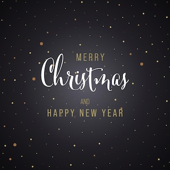 Weihnachten und neujahr schwarzer hintergrund grußkarte mit schriftzug. vektor-illustration