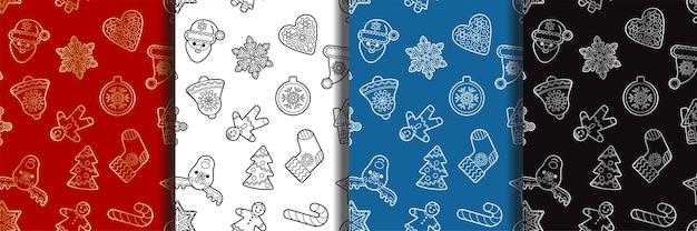 Weihnachten und neujahr skizzieren nahtlose musterset