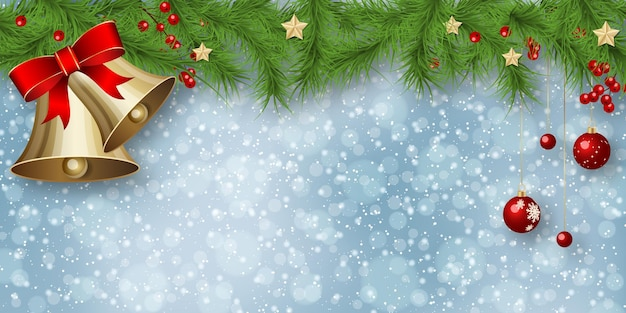 Weihnachten und neujahr tannenzweige grenzen auf unscharfen vektorhintergrund