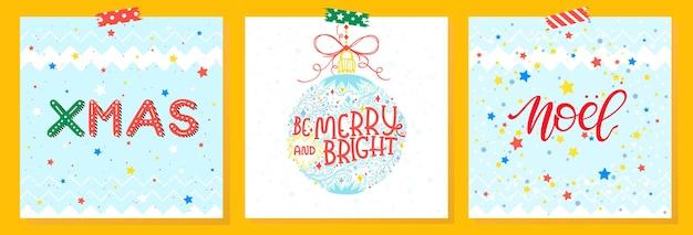 Weihnachten und neujahr typografieset von feiertagskarten