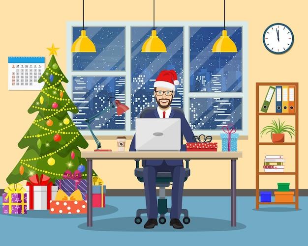 Weihnachten und silvester im modernen büro