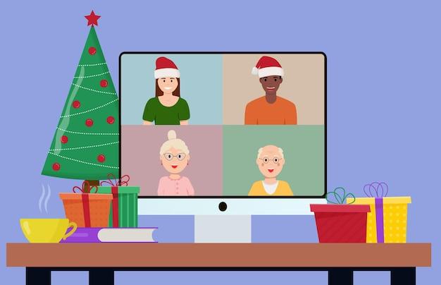 Weihnachten und silvester online-feier. party online, videoanruf. flache vektorillustration.