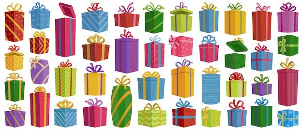 Weihnachten vektor-cartoon-set icon-geschenk-box. getrennter karikaturikonenweihnachts- und -feiertagskasten