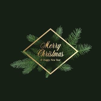 Weihnachten vektor-etikett, zeichen oder kartenvorlage. handgezeichnete fichtenzweige, die mit goldener raute gerahmter typografie ins dunkel verblassen. feiertagsgrüße banner hintergrund