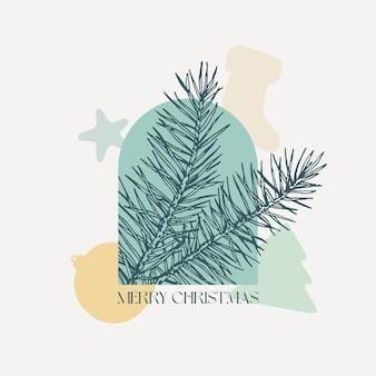 Weihnachten vektor hintergrund dekoratives layout. fichtenzweig mit feiertagsgeometrie formt boho-label. zeitgenössische kunst-saison-gruß-design für cover, wanddekor, bekleidungsdruck, tapete, promo-anzeigen