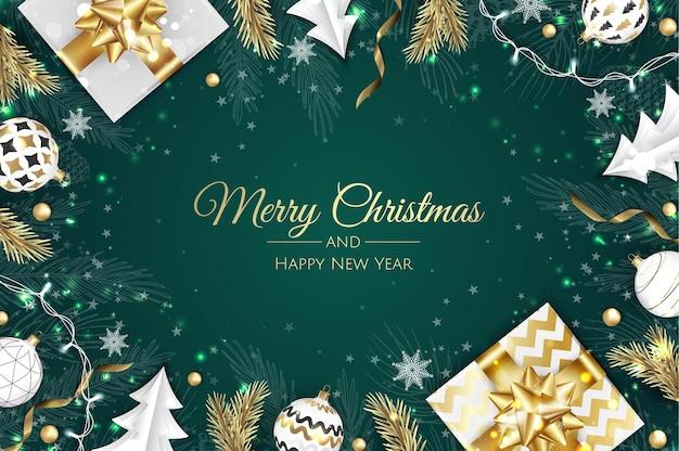 Weihnachten-vektor-hintergrund. kreative design-grußkarte, banner, poster. draufsichtgeschenkbox, weihnachtsdekorationsbälle und schneeflocken.