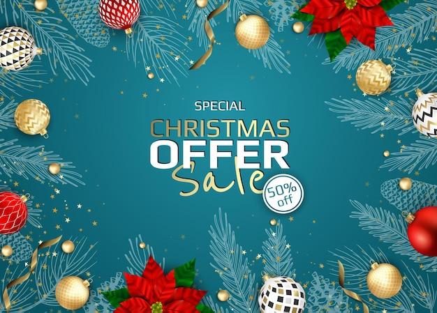Weihnachten-vektor-hintergrund. kreative design-grußkarte, banner, poster. draufsichtweihnachtsdekorationsbälle und -schneeflocken.