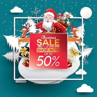 Weihnachten verkauf rabatt angebot. hut der karikatur sankt in der waldschneeszene für promo des neuen jahres