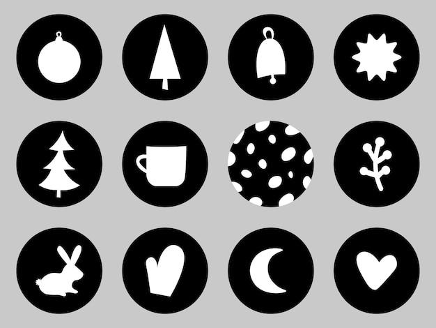 Weihnachten verschiedene cover nordische reihe von symbolen für social-media-story-highlight-cover