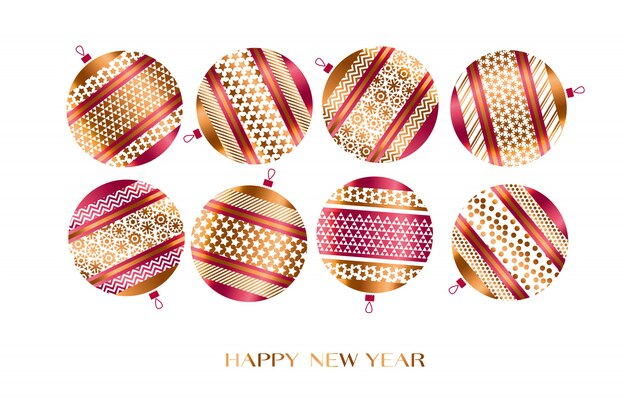 Weihnachten verzierte flitterillustration. traditionelle dekoration des baums des neuen jahres.