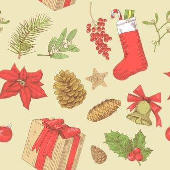 Weihnachten vintage nahtloses muster