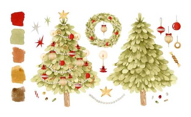 Weihnachten vintage verzierten baum und kranz aquarell illustration clipart