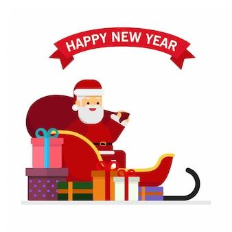 Weihnachten weihnachtsmann auf einem schlitten mit stapel von geschenken