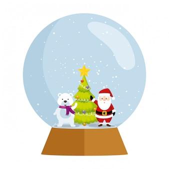 Weihnachten weihnachtsmann mit baum im kugelschnee