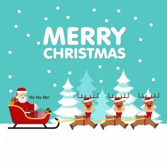 Weihnachten weihnachtsmann mit rentierschlitten