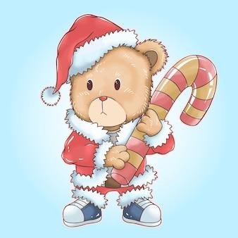 Weihnachten weihnachtsmann teddybär bringt große weihnachtssüßigkeit aquarell