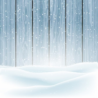 Weihnachten winter schnee auf einem hölzernen hintergrund