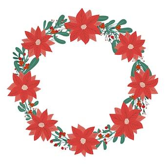 Weihnachten winter stechpalme beere weihnachtsstern mistel niedlichen kranz urlaub design vorlage kopie raum