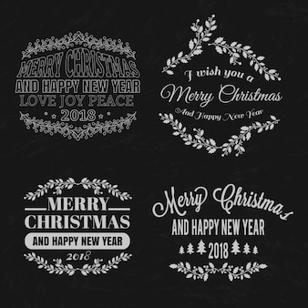 Weihnachtliche typografische elemente