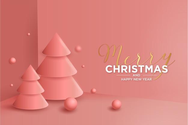 Weihnachts-3d-hintergrund mit moderner weihnachts-3d-baumzusammensetzung