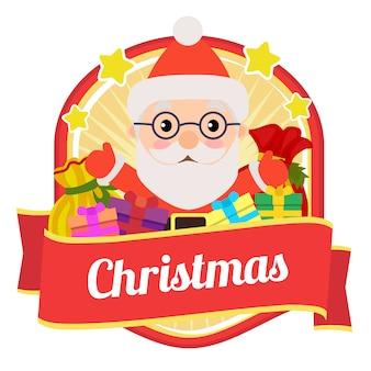 Weihnachts-abzeichen mit weihnachts- und geschenksäcken
