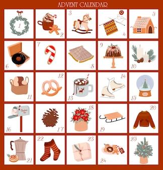 Weihnachts-adventskalender dezember bis mit niedlichen skandinavischen illustrationen nette weihnachtszeitdekoration