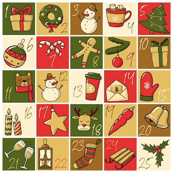 Weihnachts-adventskalender mit handgezeichnetem doodle