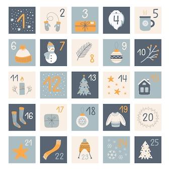 Weihnachts-adventskalender mit handgezeichneten elementen in blauen und gelben farben