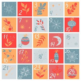 Weihnachts-adventskalender mit handgezeichneten elementen. vektorgrafiken.