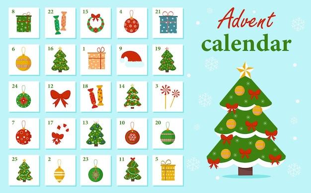 Weihnachts-adventskalender mit neujahrselementen, weihnachtsbaum, geschenken, süßigkeiten, dekorationen. winterillustration für die kreativität der kinder. vektor, cartoon-stil.