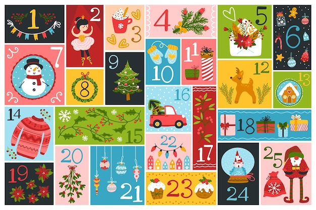 Weihnachts-adventskalender mit niedlichen charakteren und festlichen elementen in verschiedenen formen Premium Vektoren