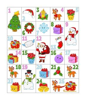 Weihnachts-adventskalender mit niedlichen charakteren weihnachtsmann-hirsch-schneemann-tannenbaum-schneeflocken-geschenkkugelsocke
