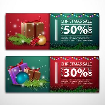 Weihnachts-banner-vorlagen mit geschenken