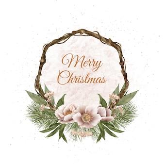 Weihnachts-boho-holzkranz mit tannenzweigen und winterblumen
