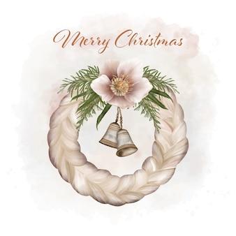 Weihnachts-boho-kranz mit feiertagsglocken