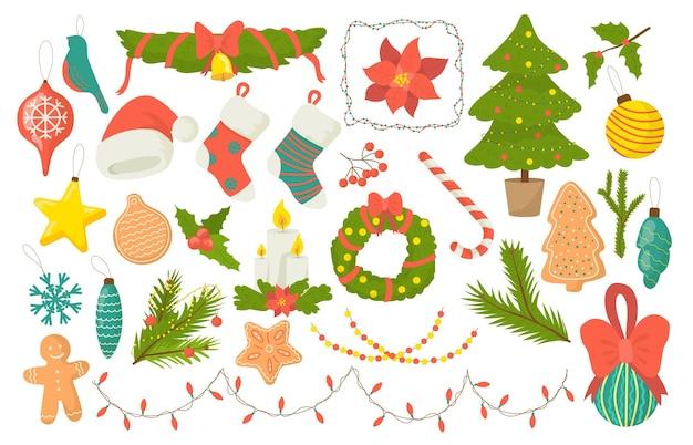 Weihnachts dekorative elemente gesetzt