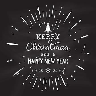 Weihnachts-design auf einem grunge-kreidetafel hintergrund