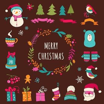 Weihnachts-design-elemente - gekritzel-weihnachtssymbole, -ikonen