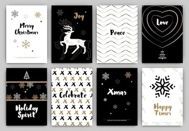 Weihnachts-design-set - trendy urlaub themensammlung ideal für geschenkanhänger oder drucken in schwarz-weiß und gold