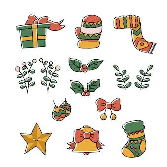 Weihnachts-doodle-elemente